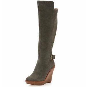 Andrew Stevens Melania   10 Wedge Boot Gray Suede